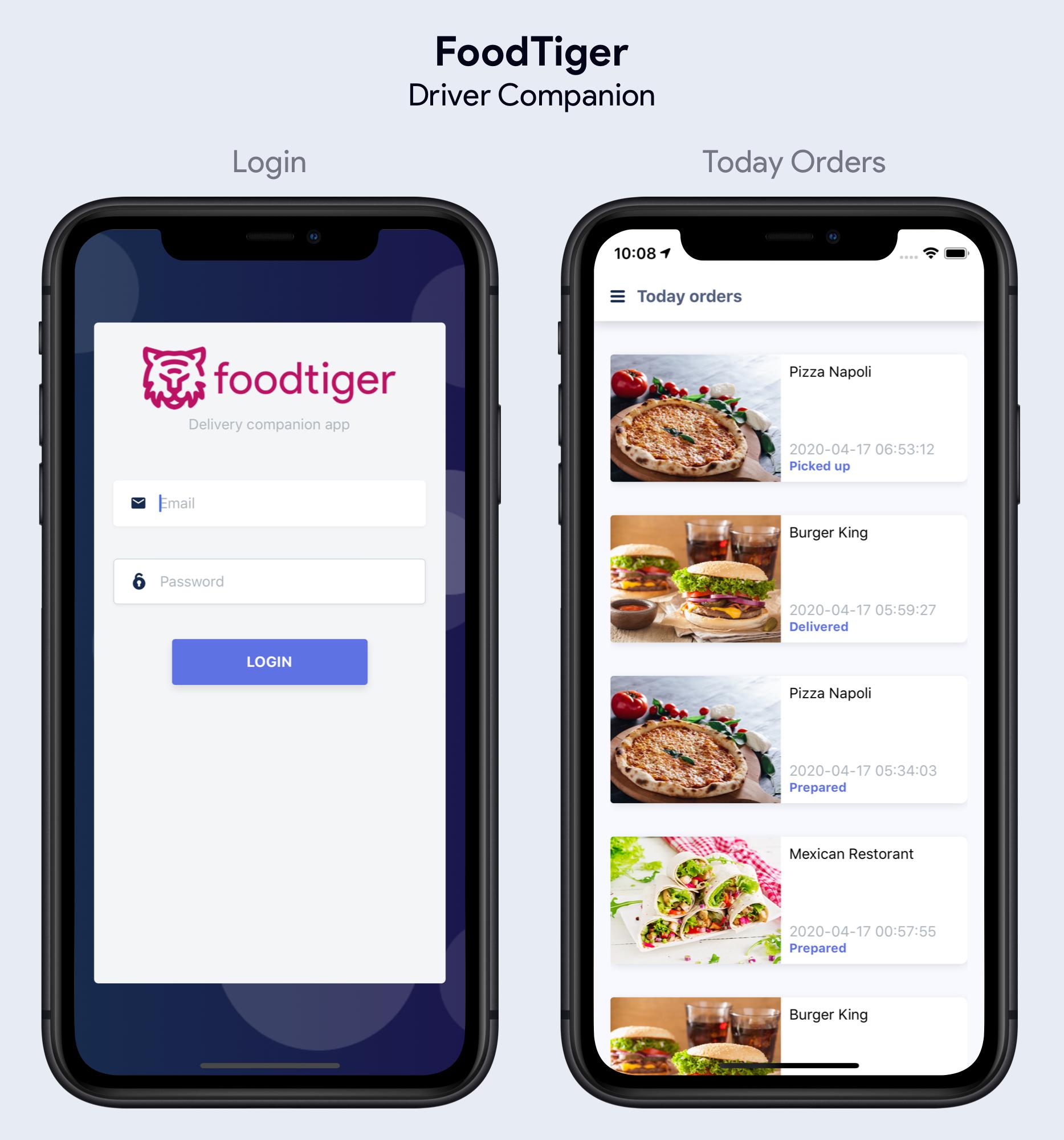 Application Driver Companion pour la livraison FoodTiger - 5