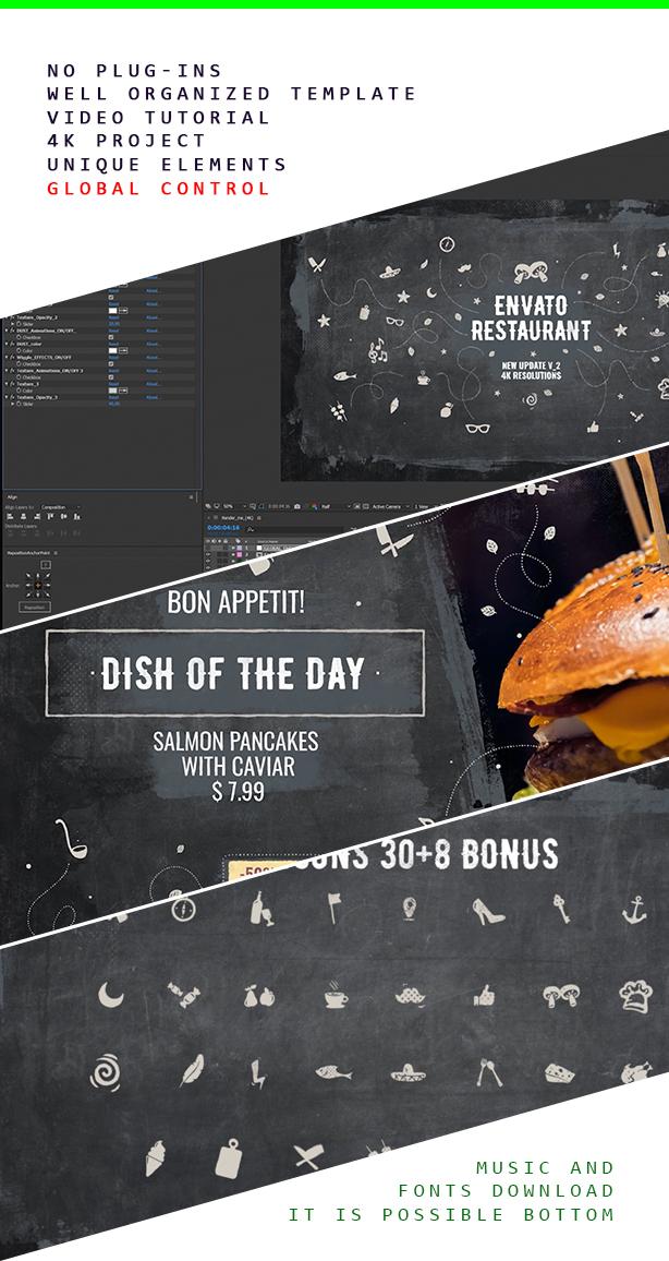 Envato Restaurant / Cafe Promo / Menu de bar moderne / Fast Food / Plat végétarien / Livraison de repas / Salle à manger - 4