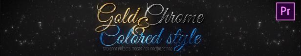 Adobe Premiere Pro préréglages Titres en acier chromé doré