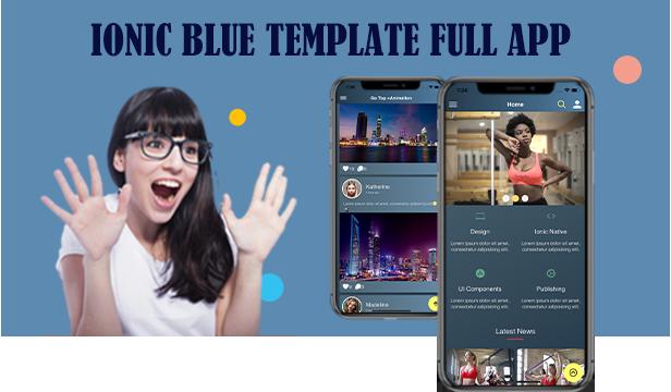 Ionic 5 / Angular 8 UI Thème bleu / application modèle |  Application de démarrage