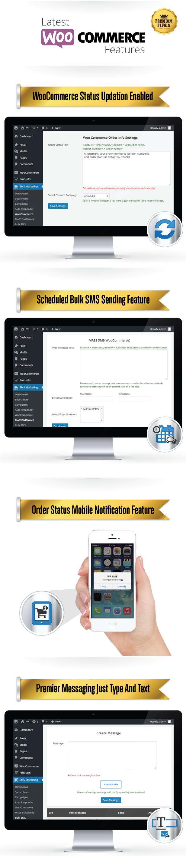 WP-WOO SMS Dernières fonctionnalités intéressantes de WOO-Commerce