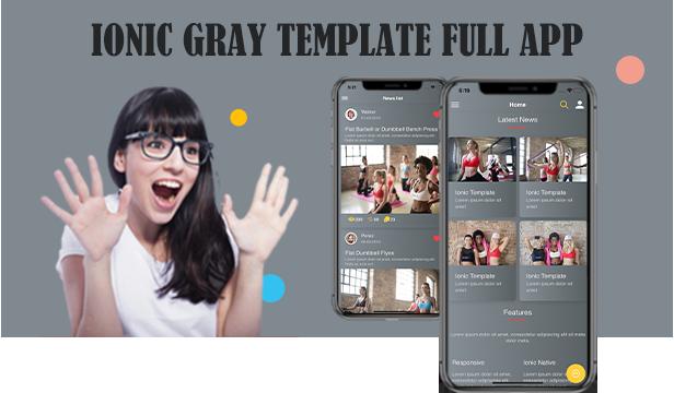 Ionic 5 / Angular 8 Grey UI Thème / Template App |  Application de démarrage