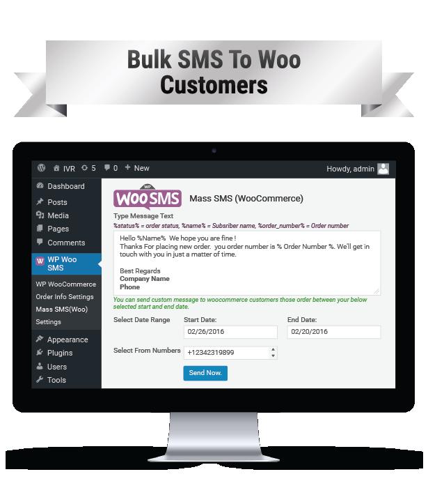 Wordpress Woo Commerce SMS Notifications Plugin SMS en masse aux clients WOO Image