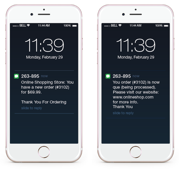 Wordpress Woo Commerce Notifications SMS Plugin Statut de la commande Notification de mise à jour