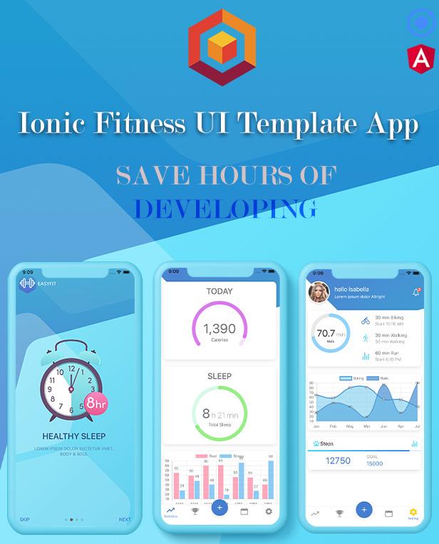 Ionic 5 / Angular 8 Fitness UI Thème / Modèle d'application |  Application de démarrage