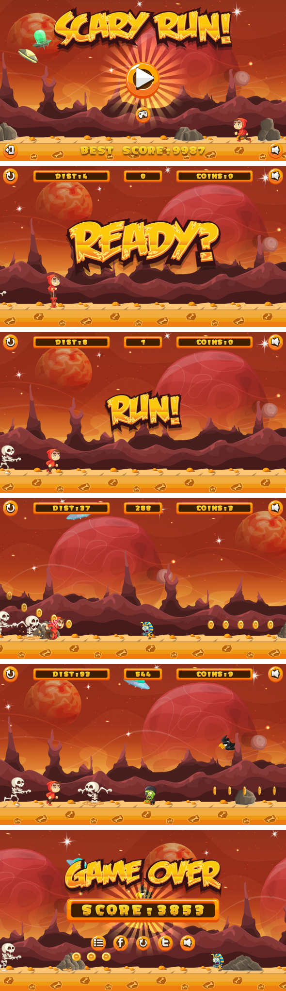 Scary Run - Jeu HTML5 + Android + AdMob (Construct 3 | Construct 2 | Capx) - 3