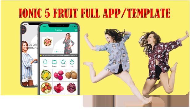 Application complète Ionic 5 Fruit avec backend Firebase / Angular Dashboard