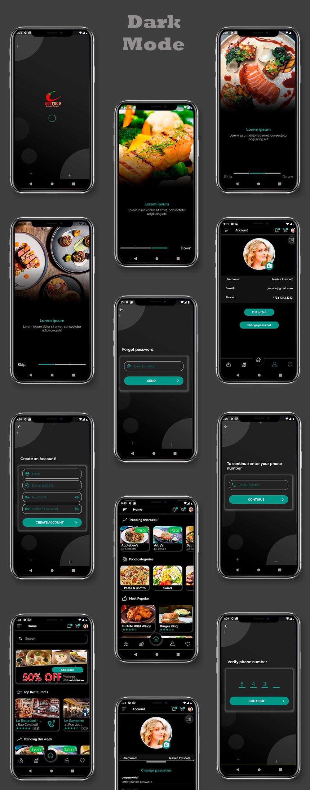 Kit d'interface utilisateur de livraison de nourriture dans Flutter - 3 applications - Application client + application de livraison + application propriétaire - 7