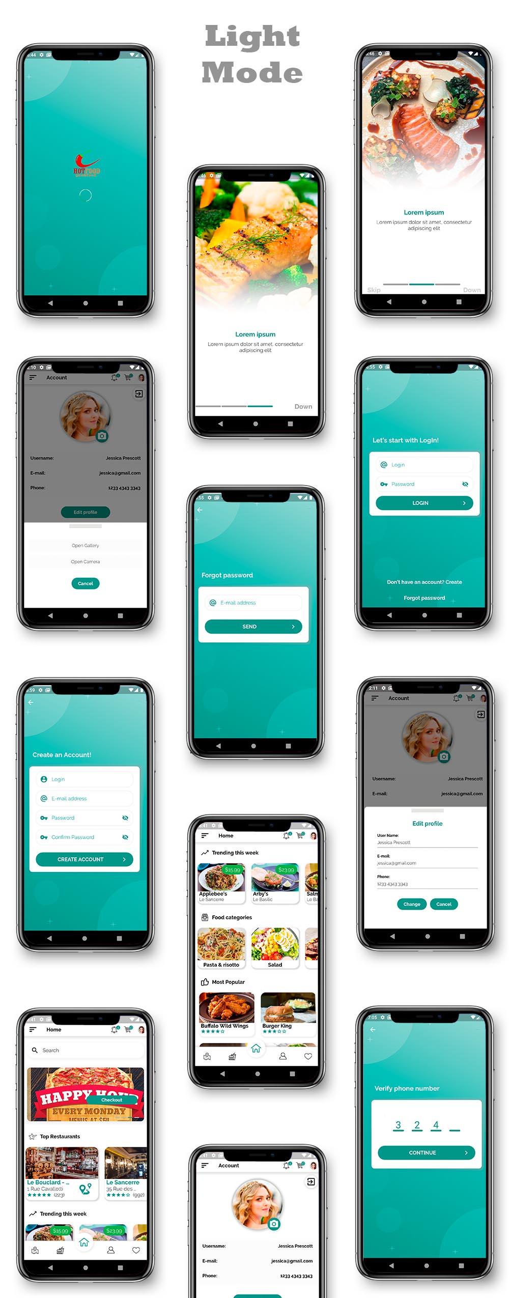 Kit d'interface utilisateur de livraison de nourriture dans Flutter - 3 applications - Application client + application de livraison + application propriétaire - 5