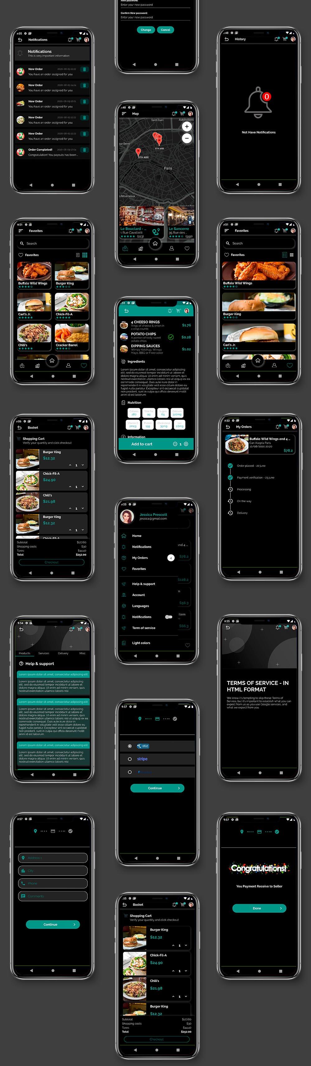 Kit d'interface utilisateur de livraison de nourriture dans Flutter - 3 applications - Application client + application de livraison + application propriétaire - 8