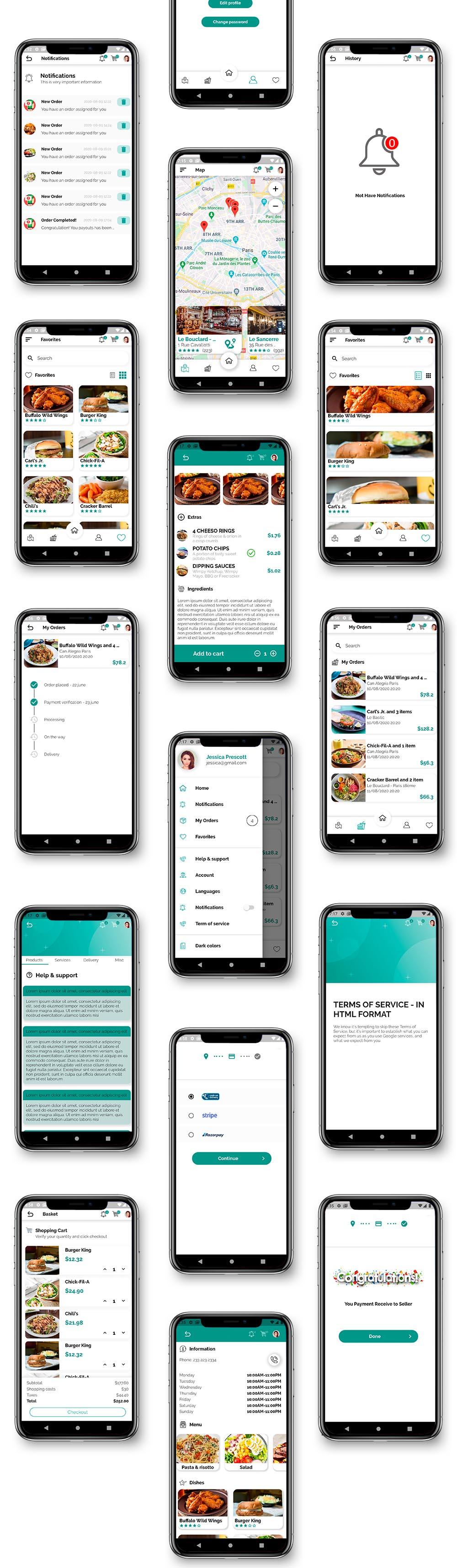 Kit d'interface utilisateur de livraison de nourriture dans Flutter - 3 applications - Application client + application de livraison + application propriétaire - 6