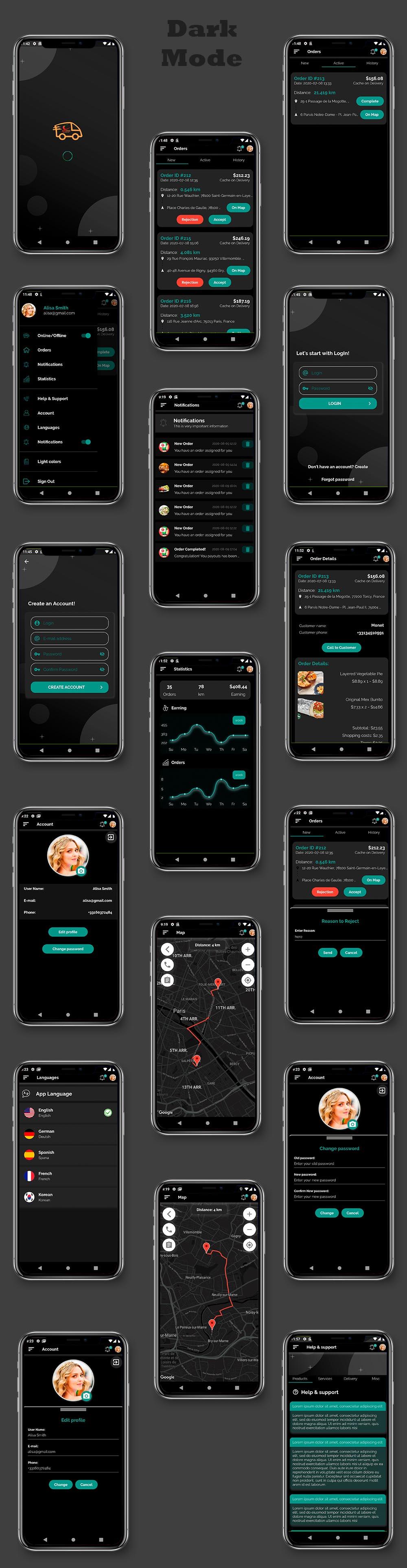 Kit d'interface utilisateur de livraison de nourriture dans Flutter - 3 applications - Application client + application de livraison + application propriétaire - 2