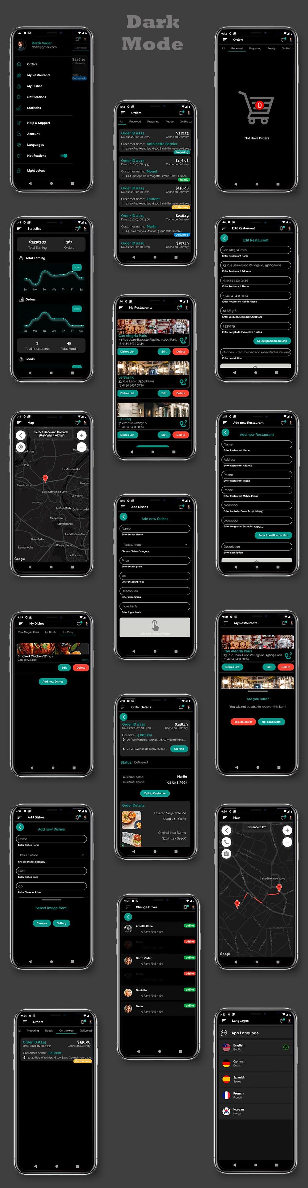 Kit d'interface utilisateur de livraison de nourriture dans Flutter - 3 applications - application client + application livraison + application propriétaire - 4