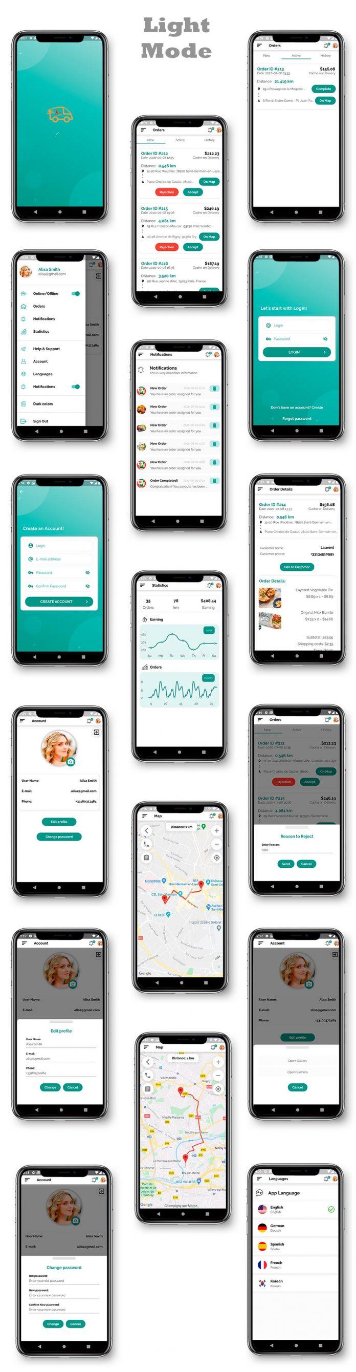 Kit d'interface utilisateur de livraison de nourriture dans Flutter - 3 applications - Application client + application de livraison + application propriétaire - 1