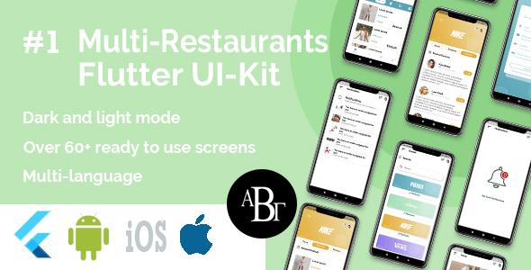 Kit d'interface utilisateur de livraison de nourriture dans Flutter - 3 applications - Application client + application de livraison + application propriétaire - 14
