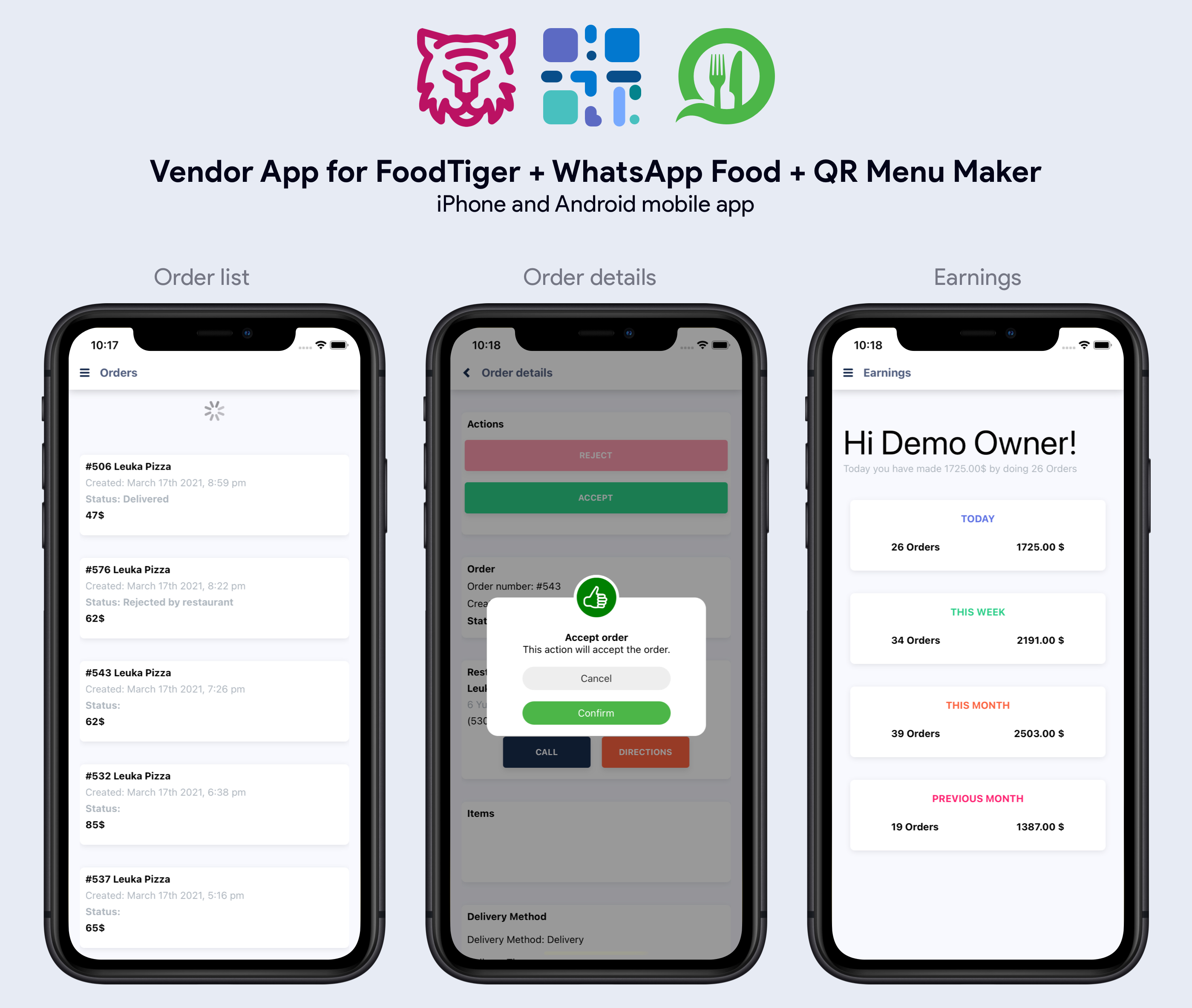 Application du fournisseur - WhatsApp Food, FoodTiger, QR Menu Maker - 5